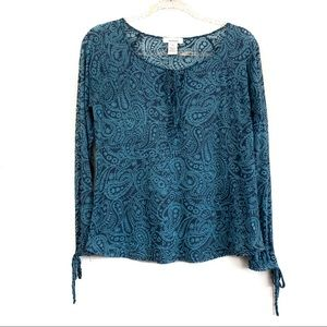 Sundance Blue Paisley Burnout Long Sleeve Top